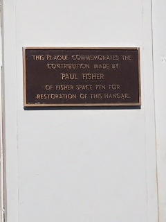 Plaque on hangar